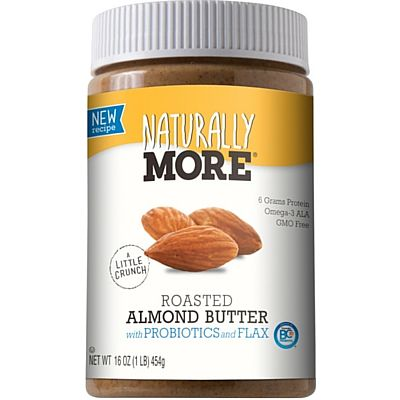 Natural Roasted Almond Butter with Probiotics and Flaxseed Naturally More