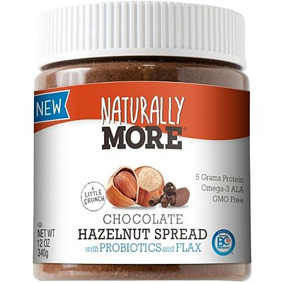 Natural Chocolate Hazelnut Spread with Probiotics, Flax and Real Bittersweet Chocolate Naturally More